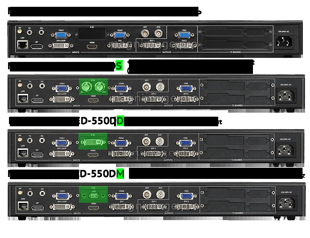 Модельный ряд видеопроцессоров для светодиодных LED экранов Magnimage LED-550D+D+S+M